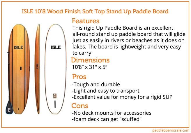 ISLE 10'8 Wood Finish Soft Top Stand Up Paddle Board